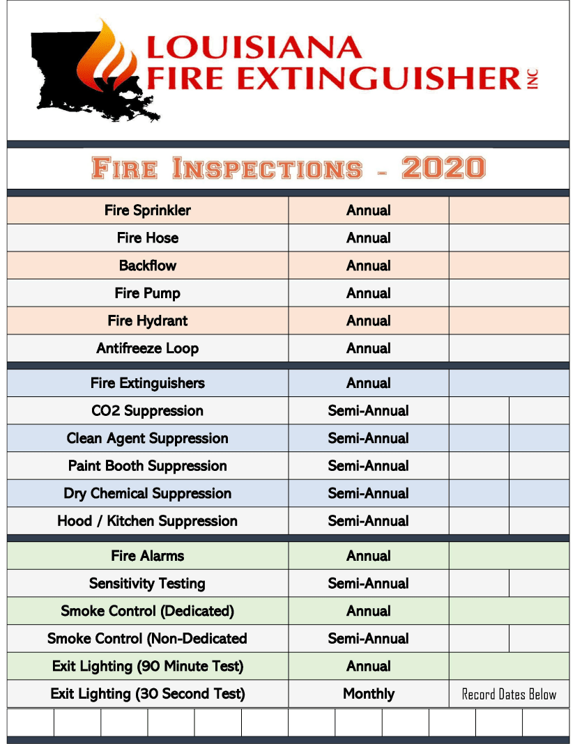Checklist for Business Required Fire Safety Inspections